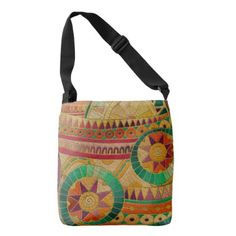 Colorful Tribal Ethnic  Pattern Embossed Leather Crossbody Bag - accessories accessory gift idea stylish unique custom