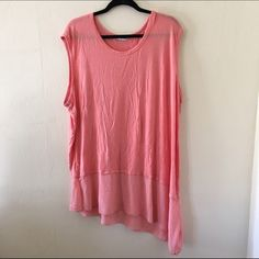 Layered Asymmetrical Tank 3x Super pretty peach color and super soft. Excuse the wrinkles from storage. Worn twice. No trades no PayPal Cha cha vente Tops Tank Tops