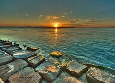 Photographed is sunset at Barnegat Light, new Jersey