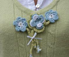 Mollys Monsters Blue Crochet Brooch