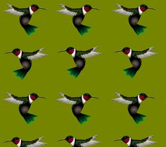 "Fabric ""Hummingbird"" by Carswell King"