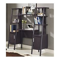 Lack of space driving you up the wall? We prescribe this miracle wall unit. It combines a compact desk, open shelves and two closed-door cabinets for stashing things when your parents come to visit.