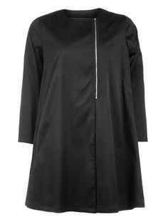 Manon Baptiste A-line zip detail jacket in Black-- navabi