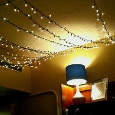 Dorm room lighting.. Command hooks and Christmas lights