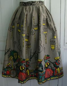 Novelty Print Travel skirt, 1950s The Vintage Traveler