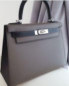 "dd59bb65fcd6 Authentic Bags Lovers on Instagram  ""Brand New Kelly28 Sellier HSS Etain    Black Epsom Phw A"""