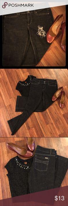 White House Black Market Jeans Feel beautiful.  Soft, light Denim.  LIKE NEW!  WHBM Blanc dark wash jeans.  Trouser Leg.  Size 8S.  99% Cotton.  Light cotton Denim=perfect for spring and summer!  Make me an offer I can't refuse... White House Black Market Jeans