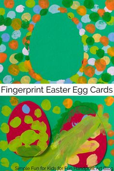 Fingerprint Easter Egg Cards including free printable egg template!