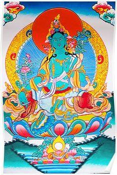 Thangka painting Green tara Poster Buddhist Wheel Of Life, Thangka Painting, Green Tara, Durga Goddess, Paint Designs, Buddhism, Woman, Canvas, Outdoor Decor