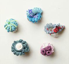 freeform crochet brooches