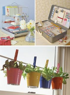 Adapt the Ikea idea for a plant window in a DIY way. Also use a birdcage for desk organization.  Unexpected...  think outside the cage!