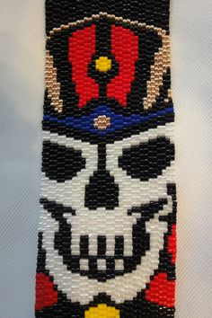 King Tut-like Egyptian Skull Peyote Stitch Seed Bead Bracelet
