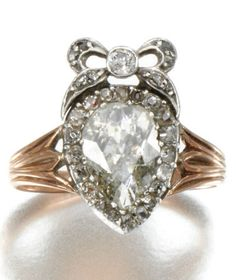 A GEORGIAN ANTIQUE DIAMOND RING, FIRST QUARTER OF 19TH CENTURY. Centring on a pear-shaped diamond in a closed back setting, to a bow surmount set with single-cut diamonds. #Georgian #antique #ring