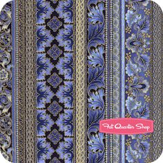 Florentine 4 Indigo Flourish Stripe Yardage SKU# 5087-62