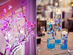 love the blue & purple orchids