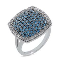 #Malakan #Jewelry - Platinum-Silver Treated Blue Diamond Ladies Ring 69927C2 #Fashion #FashionRings #WomensFashion