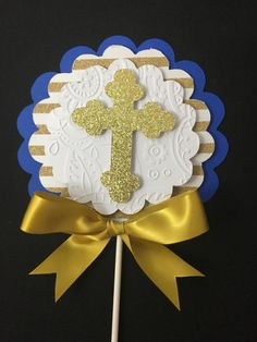 Baptism centerpieces stick/ Royal blue and Gold centerpieces stick/ Royal blue and gold baptism/First communion/ by CuadraHauckCreations on Etsy Boy Baptism Centerpieces, Communion Centerpieces, Baptism Decorations, Diy Party Decorations, Gold Centerpieces, Baptism Party, Baptism Favors, Ideas Bautismo, First Holy Communion Cake