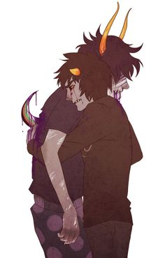 Awww this is cute they're hugging wait why is Karkat crying and why is there purple blood on his sickleOHMYGOD *runs away screaming in horror* // I honestly feel like this is where it's headed.