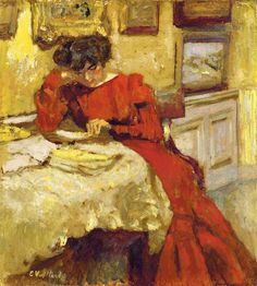 Édouard Vuillard (1868-1940), Madame Hessel in Red Dress, Reading (1905)