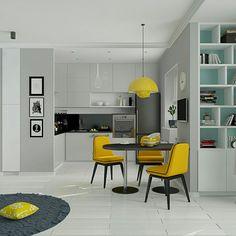 Студия для молодой девушки в одном из наших проектов. #designinterior #designstudio #design #kitchen #yellow #дизайнинтерьеров #интерьер #дизайн