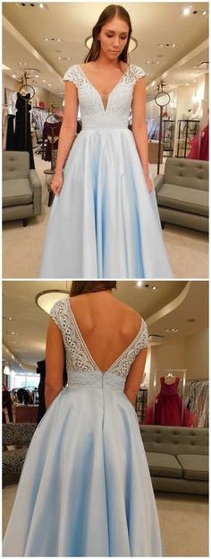 This dress is Made-To-Order in our Dressself. V Neck Light Blue Prom Dresses with Lace Cap Sleeves Long Formal Gowns. Suitable for Party, Prom and Evening. Long Formal Gowns, Formal Dresses, Wedding Dresses, Party Dresses, Engagement Dresses, Long Dresses, Blue Dresses, Vintage Dresses, V Neck Prom Dresses