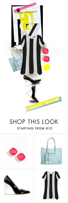 """Classic REvival"" by mponte ❤ liked on Polyvore featuring Kate Spade, Chanel, Retrò, Trilogy, black and white shoes, black and white, top handle bags, striped dresses, structured handbags and stud earrings"