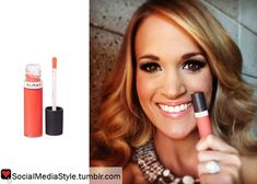She is wearing the Almay Color + Care Liquid Lip Balm in Cantaloupe ...