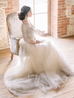 Stunning wedding gown in a dove grey