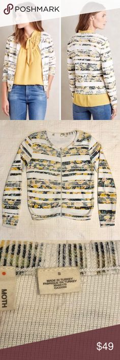 """Moth ANTHROPOLOGIE Striped CARDIGAN Sweater S EUC Moth ANTHROPOLOGIE Array Floral Striped Zip CARDIGAN Sweater Small Yellow EUC  Retails new for $128  Excellent Condition   Sleeve 23.5"""" Bust 36"""" Shoulder 17.5"""" Height 22.5""""  Please ask any questions before bidding or purchasing.  Photos are part of the description and show details of condition.  100% Positive Feedback  Thank you for looking! Anthropologie Sweaters Cardigans"""