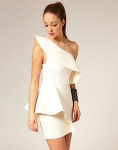 white one shoulder peplum dress
