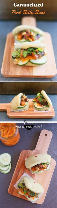 Caramelized pork belly with flat steamed buns. Goes well with wraps, burgers, noodles, or rice too!!
