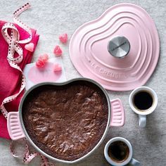 Le Creuset Cast-Iron Heart-Shaped Dutch Oven | Make a one-pan brownie and serve warm with ice cream!