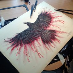 Crow Color Pencil Drawing As you can see i went with the blood themed craw drawing. i agree with with a lot of the comments , that fire is very used up - and also it could resemble the hunger games...