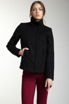 Large Collar Asymmetrical Zip Front Coat