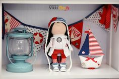 Текстильная Кукла-Интерьерная Кукла-Кукла Ручной Работы-Мягкая Игрушка -Детство-Морячка- Кукла Из Ткани-Авторская Кукла by VikkiDoLis on Etsy