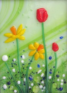 red tulips and yellow daffodils on a spring green background, original one of a kind fused glass panels decorate this black metal lantern Fused Glass Ornaments, Fused Glass Art, Blue Lotus Flower, Cactus Flower, Red Tulips, Yellow Roses, Pink Roses, Flower Garden Design, Flowers Garden