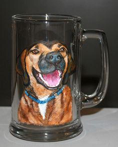 Custom Dog Beer Mug - Christmas Gift! https://www.etsy.com/listing/176557669/custom-dog-beer-mug-mens-valentines-gift Custom Painted Dog Beer Mug