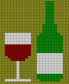 Small bottle of wine with glass chart for cross stitch, knitting, knotting, beading, weaving, pixel art, and other crafting projects.