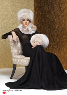 Beautifully Canadian by Canadian Hat. Thoroughly modern accessories in a sophisticated blush fox evoke romantic Russian tzarinas of a bygone era. Fur Fashion, Winter Fashion, Fur Jacket, Fur Coat, Fur Clothing, Woman Clothing, Perfect Red Lips, Winter Hats, Fall Winter