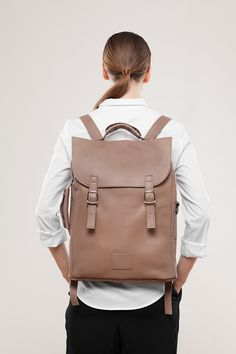 Camel Leather Backpack