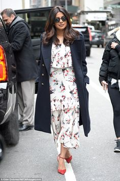 Ready for spring: Priyanka Chopra was pretty in prints in a frilled white patterned maxi d...