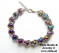 Rainbow Hematite Chainmaille Bracelet www. Jewelry Bracelets, Jewellery, Chainmaille Bracelet, Rainbow, Bijoux, Rain Bow, Jewels, Rainbows, Schmuck
