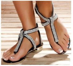 Shop affordable trendy flat shoes for women at shoespie. You can find various of cute flat shoes for huge discount including rhinestone thong flat sandals, rhinestone gladiator flats, embellished leather flat shoes. Cute Flats, Cute Sandals, Flat Sandals, Cute Shoes, Me Too Shoes, Shoes Sandals, Pretty Sandals, Sexy Sandals, Sandals Outfit