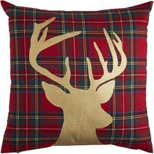 Plaid Reindeer Pillow - Red