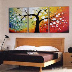 Tian Mei sin marco pintura pura pintado a mano aceite de la pintura de casa pintura decorativa dormitorio moderno Mueble de salón cuadro 3 lucha Pachira - visitando el bebé - Compras amor - Taobao