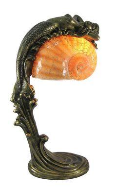 Buy Beautiful Jumping Mermaid Table Lamp Shell Shade at Home - Design & Decor Shopping Mermaid Lamp, Mermaid Shell, Nautical Chandelier, Desk Lamp, Table Lamp, Colored Epoxy, Shell Lamp, Mermaid Bedroom, Art Nouveau Furniture