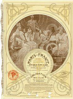 Paris-France Société Anoynme Paris, September 1927, 6 % Obligation über 500 Francs, #34691, 32,5 x 23,2 cm, ocker, braun, KR, lochentwertet, dekorative Gestaltung, Mucha hat sich in der Druckplatte verewigt.