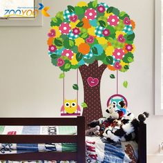 Aliexpress.com: Comprar 60 * 90 búhos sabios de colores de los árboles pegatinas de pared para niños habitaciones ZooYoo1015 decorativo adesivo de parede etiqueta de la pared del pvc extraíble de pegatinas de las palabras fiable proveedores en ETop-Store