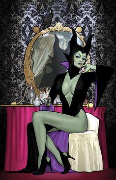 Pin up Maleficent Naughty Disney Princesses, Disney Villains, Disney Characters, Dark Disney, Disney Art, Dark Fantasy Art, Fantasy Girl, Princesas Da Disney Punk, Evvi Art