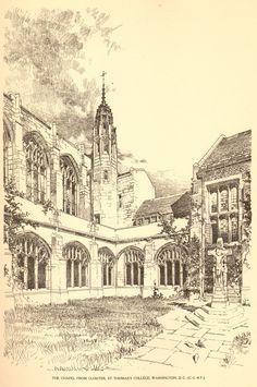 Bertram Grosvenor Goodhue, Architect (1869-1924) The Chapel, from Cloister, St. Thomas College